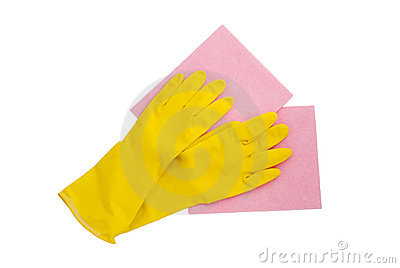 Rubber gloves and two cleaning napkins