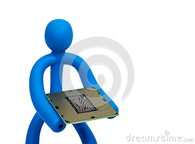 Rubber man with a processor isolated on white background