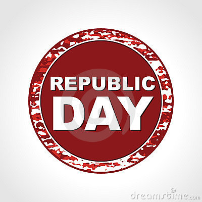 Rubber stamp having Republic Day text