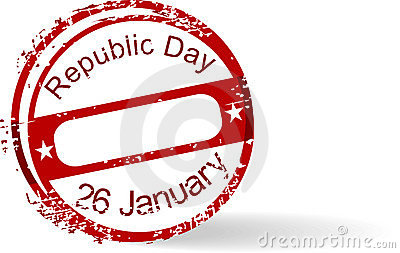 Rubber stamp of Republic Day on white background.