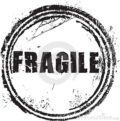 Rubber stamp with the text fragile