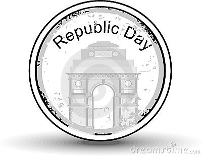 Rubber stamp with text Republic day.