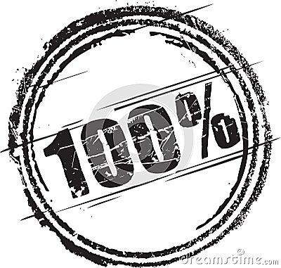 Rubber zegel met de tekst honderd percenten