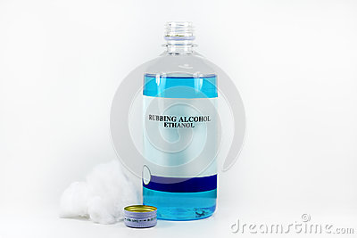 Rubbing alcohol with cotton