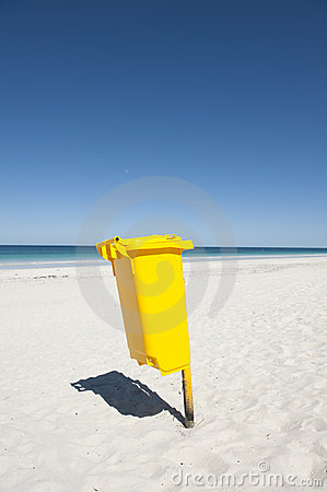Rubbish Bin on Tropical Beach