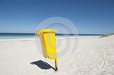 Rubbish Bin on Tropical Beach