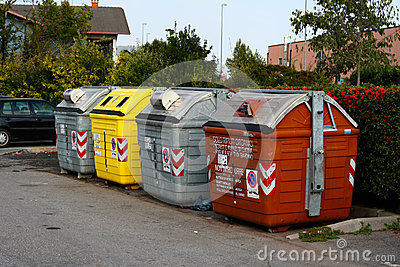 Rubbish containers in the street