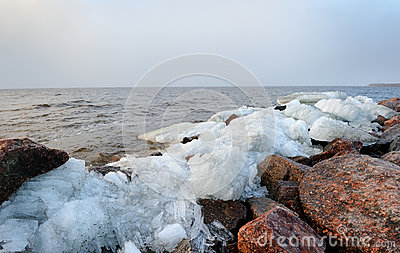 Rubble ice shoreline landscape in Kronstadt