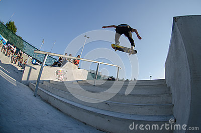 Ruben Rodrigues over the stairs Editorial Stock Photo