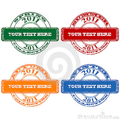 Ruber stamps set with seasons collections