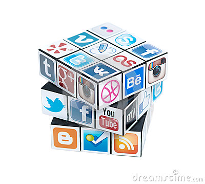 Free Rubick S Cube With Social Media Logos Royalty Free Stock Images - 29486369