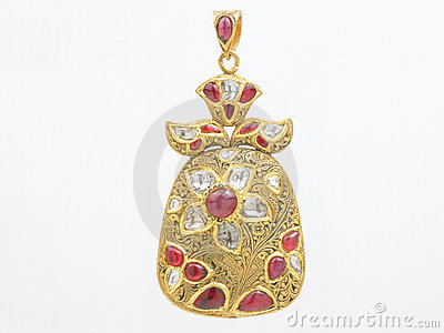 Rubies pendant with diamonds