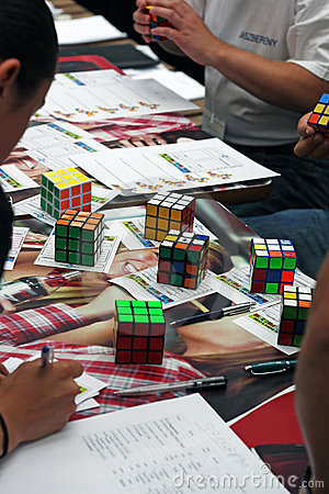 Rubik`s cube competition Editorial Photo