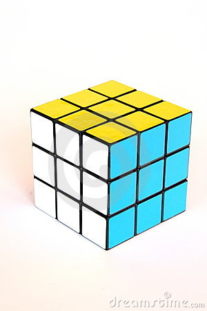 Rubik s cube in yellow, blue and white Editorial Image