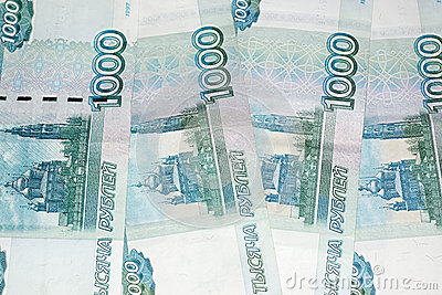 The ruble banknotes background