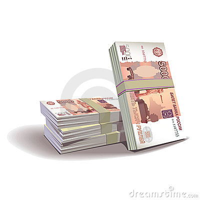 Ruble banknotes  illustration, financial the