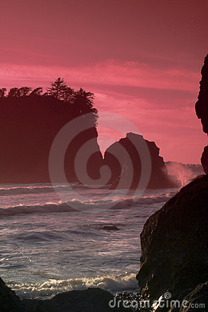 Ruby Beach Sunset with Waves