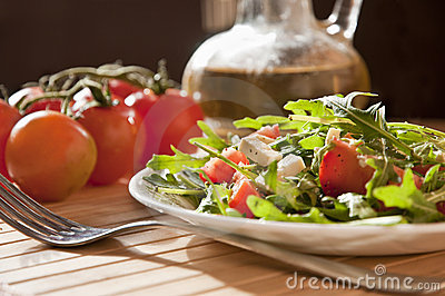 Ruccola salad with goat cheese