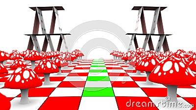 Ruch widok wzdłuż karta do gry na chessboard z maską i amanita 3D-rendering UHD - 4K ilustracji