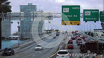 Ruchu drogowego dżem na autostradzie Miami plaży usa pejzaże miejscy zbiory