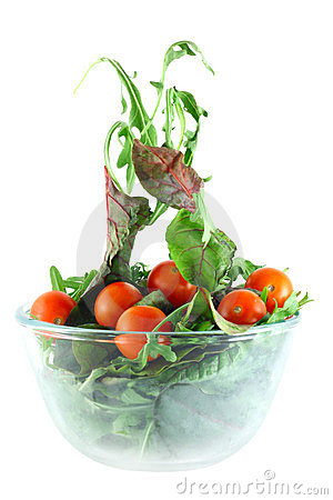 Rucola, Chard and tomatoes salad lightness concept
