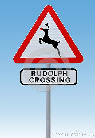 Rudolph Crossing Christmas Road Sign