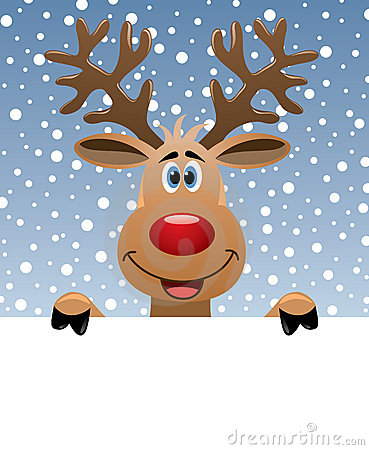 Rudolph deer holding blank paper