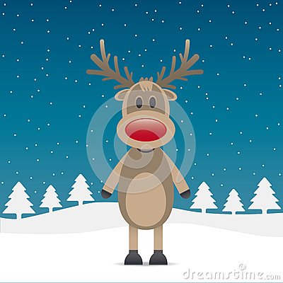 Rudolph reindeer with red nose