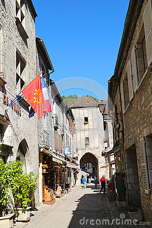 Rue de la Couronnerie and view of Porte Salmon in Rocamadour, France Editorial Photography