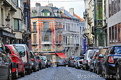 Rue de ville de Bruxelles Photo stock éditorial