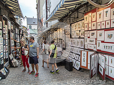 Rue du Tresor or artist alley in Old Quebec City Editorial Stock Image