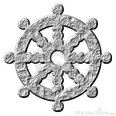 Rueda de piedra del símbolo del Buddhism 3D de Dharma