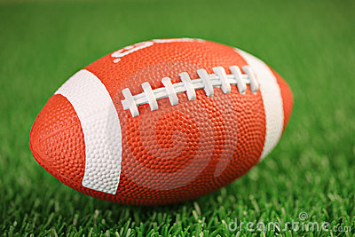Rugby ball on a grass