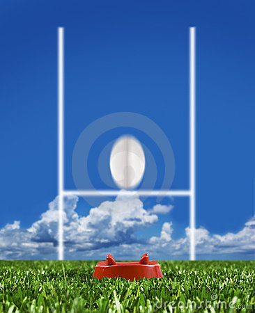 Rugby ball kicked to the posts showing movement