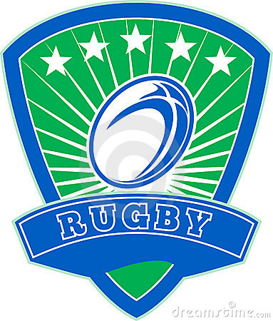 Rugby ball stars shield