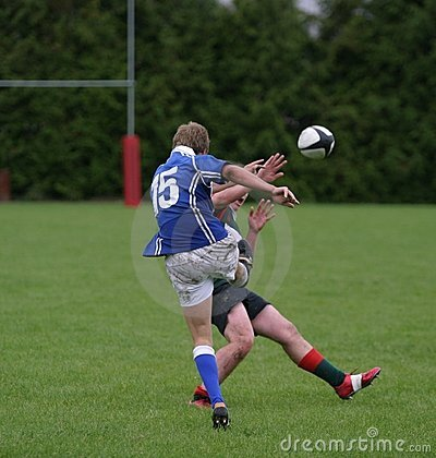 Free Rugby Charge Down. Stock Photo - 3140300