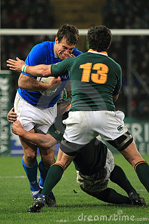 Rugby match Italy vs South Africa - tackle Editorial Image