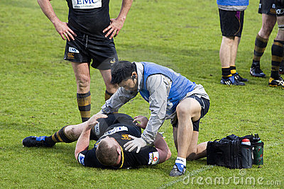 Rugby physiotherapy Editorial Stock Photo
