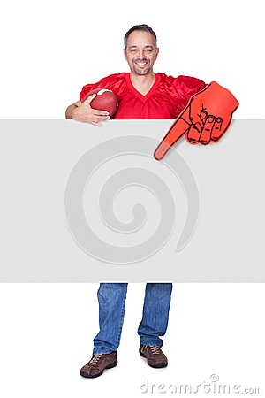 Rugby Player Holding Rugby Ball And Placard