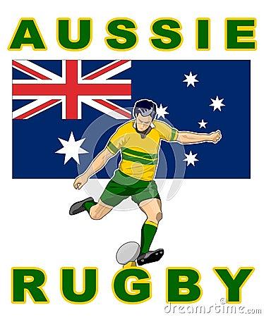Rugby player kick Australia flag