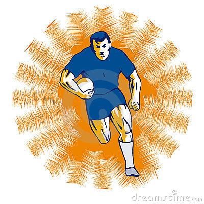 Rugby player running orange