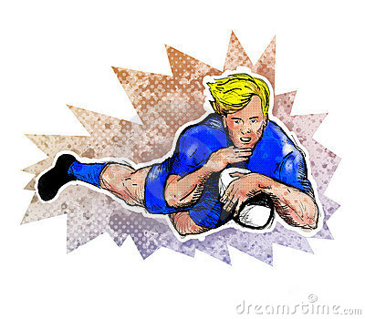 Rugby player score a try ball