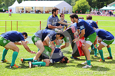 Rugby players from Portugal train Editorial Stock Photo