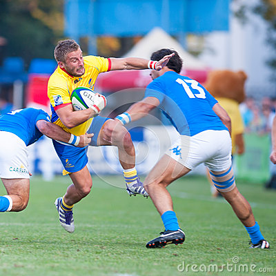 Rugby players during Romania vs Emerging Italy Editorial Photography