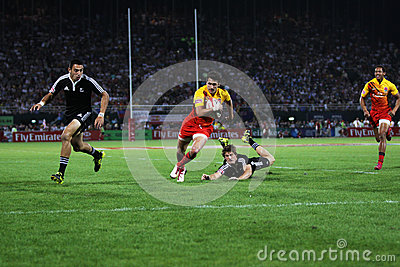 Rugby Sevens Action Try