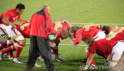Rugby World Cup 2011 Wales scrum practice Editorial Stock Photo
