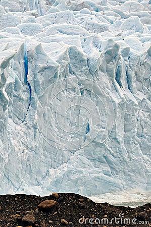 Rugged ice wall of Glacier Perito Moreno
