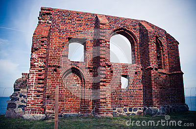 Ruin of the church in Trzesacz, Poland