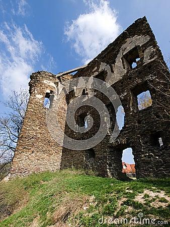 Ruin of european gothic castle