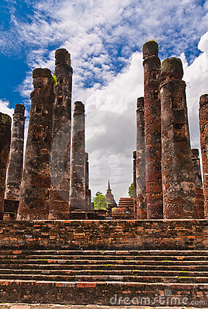 Ruin pillars of ancient temple in sukhothai